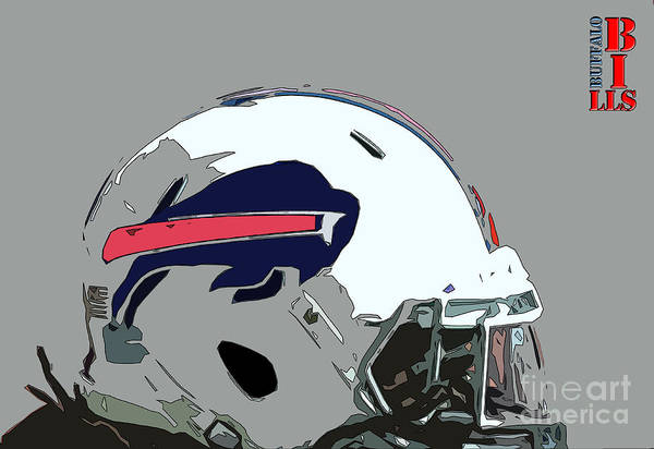 Wall Art - Painting - Buffalo Bills Football Team Ball And Typography by Drawspots Illustrations