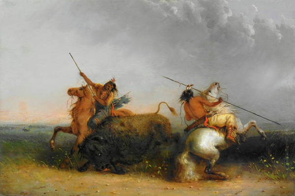 Herd Of Horses Wall Art - Painting - Buffalo Hunt by Alfred Jacob Miller