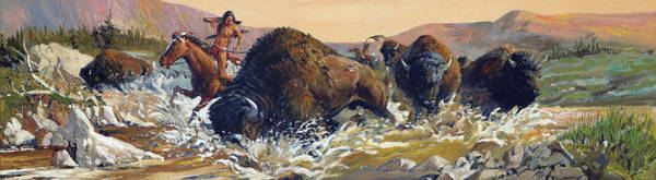 Painting - Buffalo Hunt by Joe Ferrara