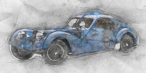 Four Wheeler Mixed Media - Bugatti Type 57 - Atlantic 1 - 1934 - Automotive Art - Car Posters by Studio Grafiikka