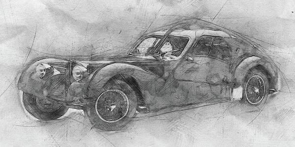 Garage Decor Mixed Media - Bugatti Type 57 - Atlantic - 1934 - Automotive Art - Car Posters by Studio Grafiikka