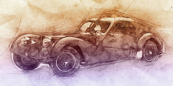 Four Wheeler Mixed Media - Bugatti Type 57 - Atlantic 2 - 1934 - Automotive Art - Car Posters by Studio Grafiikka
