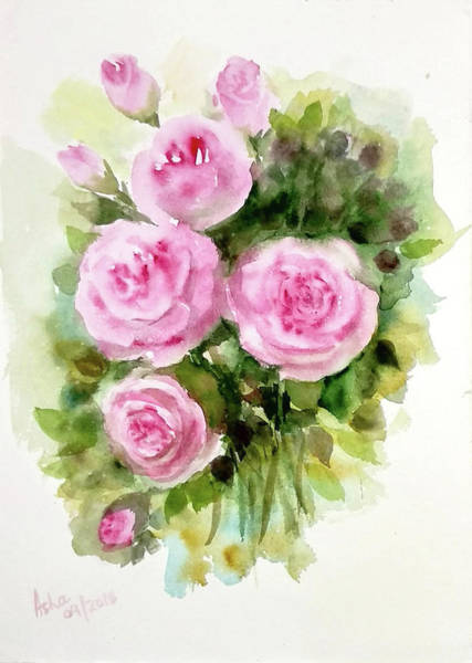 Painting - Bunch Of Pink Roses by Asha Sudhaker Shenoy