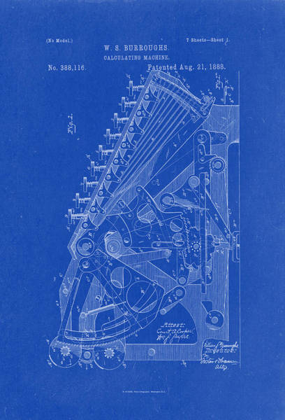 Artful Drawing - Burroughs Calculating Machine Patent Drawing 1888 Blueprint by Patently Artful