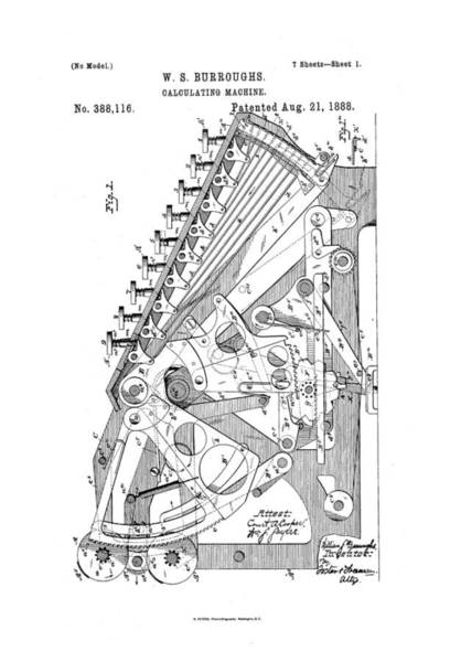 Artful Drawing - Burroughs Calculating Machine Patent Drawing 1888 Bw by Patently Artful
