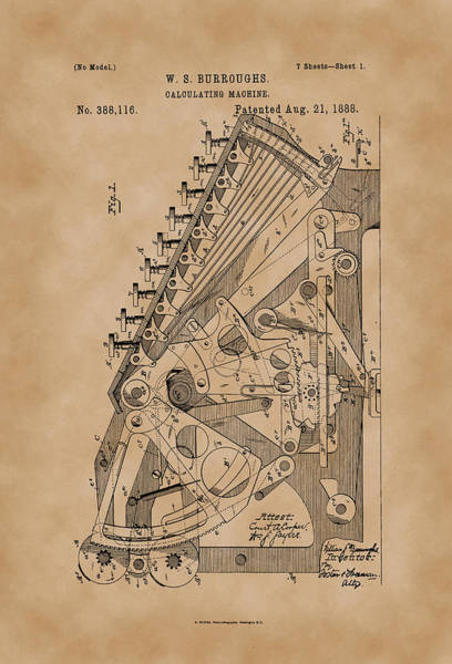 Artful Drawing - Burroughs Calculating Machine Patent Drawing 1888 Vintage by Patently Artful