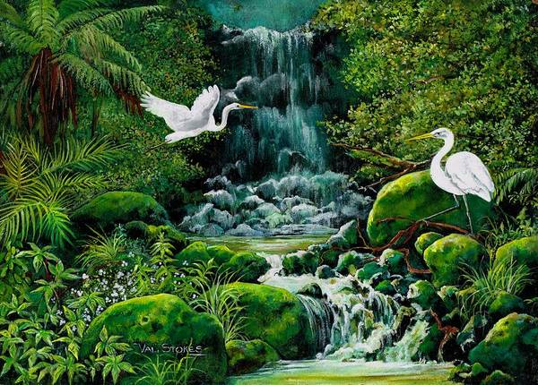 Painting - Bush Waterfall by Val Stokes
