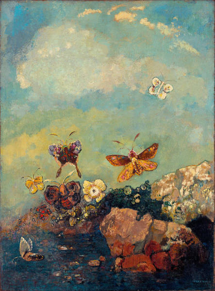 Painting - Butterflies  by Odilon Redon