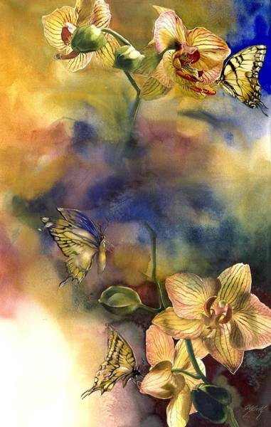 Painting - Butterflies With Orchid by Alfred Ng