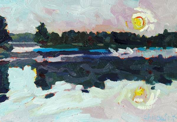 Birder Painting - A New Dawn On Buzzard Lake by Phil Chadwick