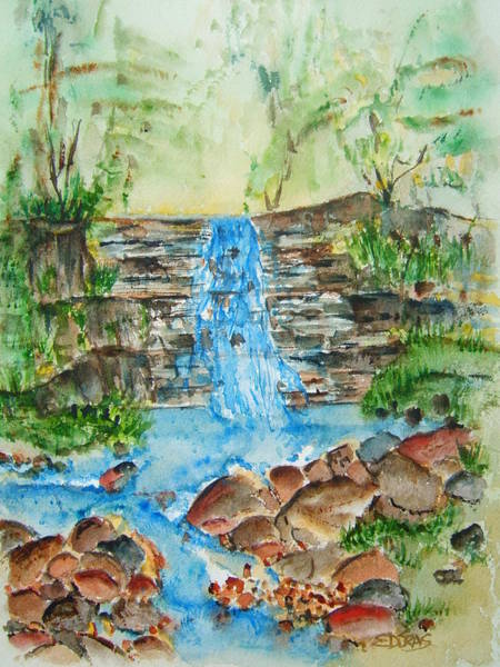 Wall Art - Painting - By A Waterfall by Elaine Duras