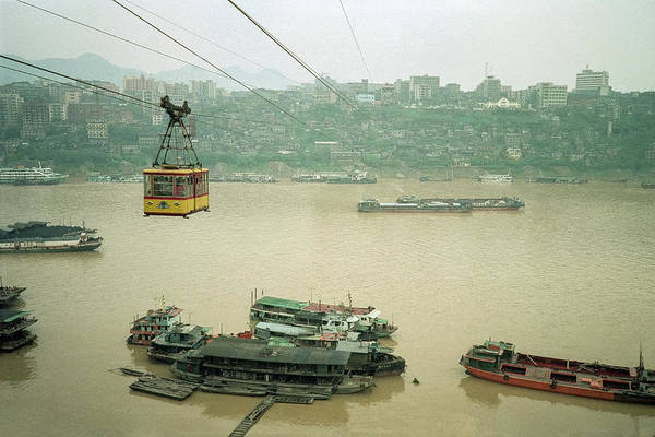 Photograph - Cable Car Over Yangzi River In Chongqing China by Pete Hendley