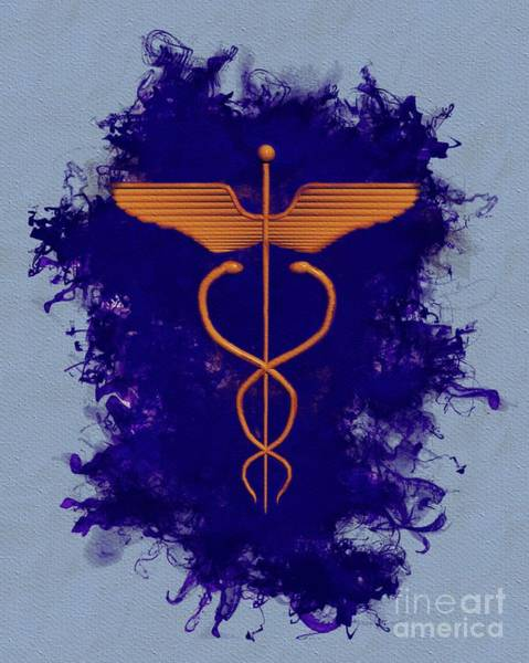 Serpent Painting - Caduceus - Symbols Of The Occult by Pierre Blanchard