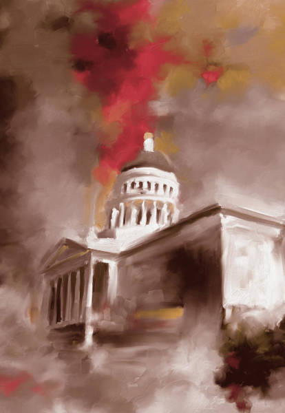 Chinatown Painting - California State Capitol Building 556 3 by Mawra Tahreem