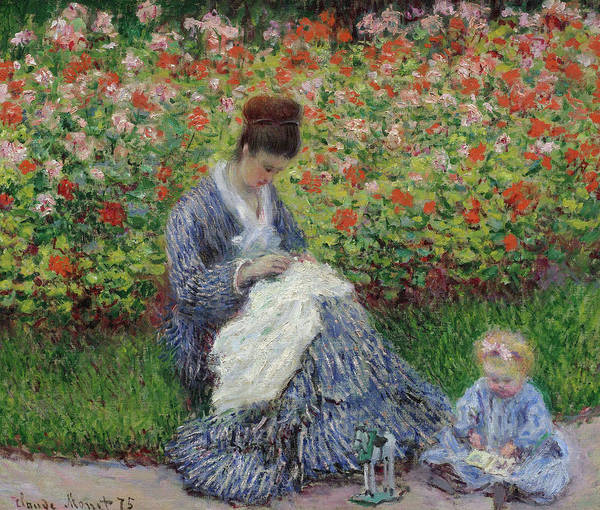 Sewer Painting - Camille Monet And A Child In The Garden At Argenteuil by Claude Monet