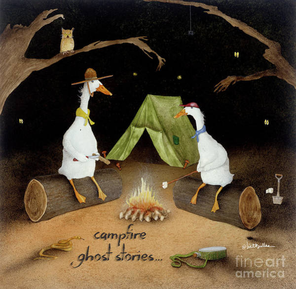 Wall Art - Painting - Campfire Ghost Stories by Will Bullas