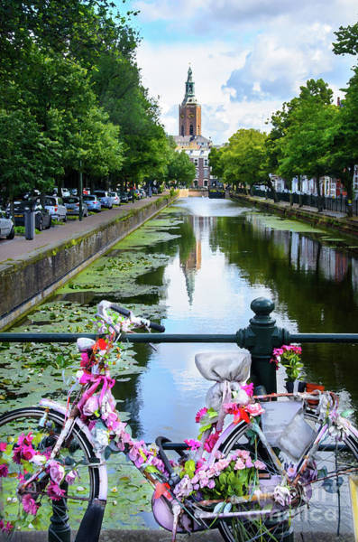 Wall Art - Digital Art - Canal And Decorated Bike In The Hague by RicardMN Photography
