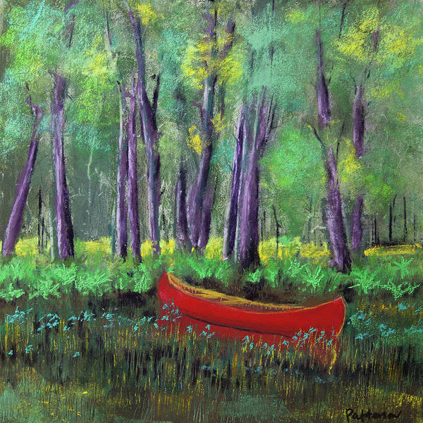 Wall Art - Pastel - Canoe Among The Reeds by David Patterson