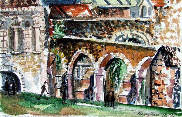 Wall Art - Painting - Canterbury England Cloisters by Mindy Newman