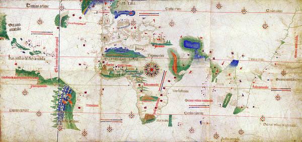 Wall Art - Drawing - Cantino World Map, 1502.  by Granger