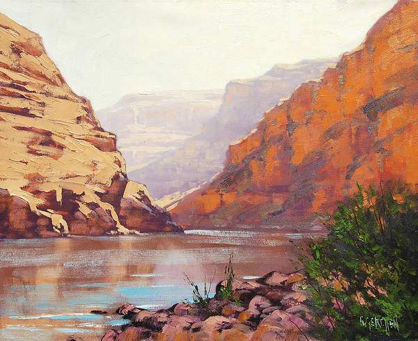 Zion Painting - Canyon River  by Graham Gercken