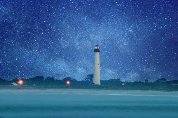 Wall Art - Photograph - Cape May Lighthouse At Night by Bill Cannon