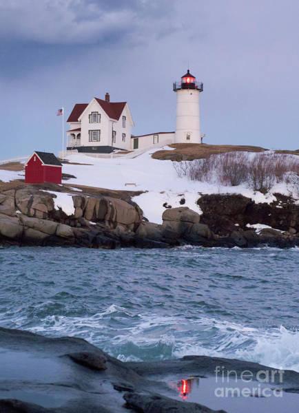 Photograph - Cape Neddick Light At Dusk, York, Maine  -21073 by John Bald