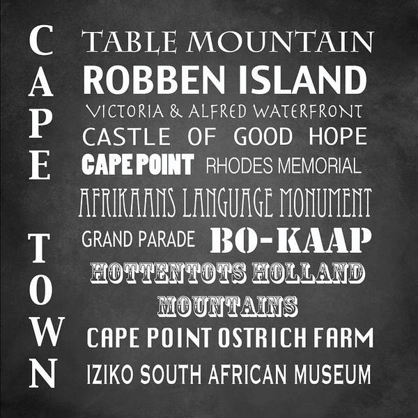 Wall Art - Digital Art - Cape Town Famous Landmarks by Patricia Lintner