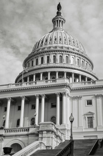 Photograph - Capitol Hill Building In Washington Dc With Vintage Filter by Brandon Bourdages