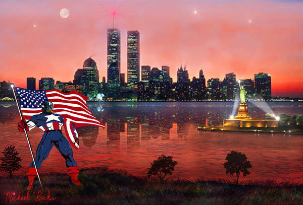 Declaration Of Independence Digital Art - Captain America by Michael Rucker