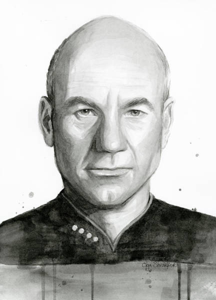 Star Painting - Captain Picard by Olga Shvartsur