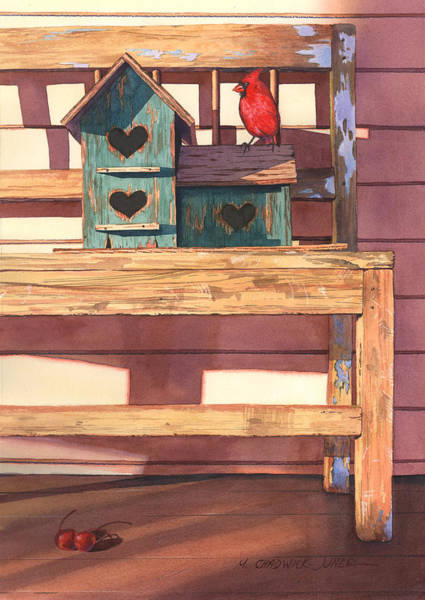 Birdhouse Painting - 1 Cardinal 2 Cherries by Marguerite Chadwick-Juner
