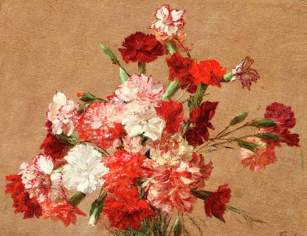 Carnation Painting - Carnations Without Vase by Henri Fantin-Latour