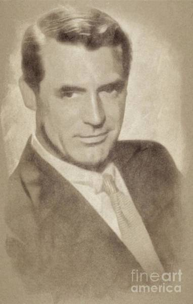 Pinewood Drawing - Cary Grant, Hollywood Legend By John Springfield by John Springfield
