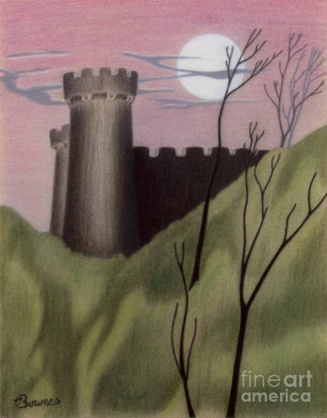 Drawing - Castle By Moonlight by John Bowers