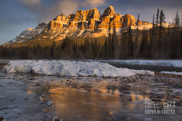 Photograph - Castle Mountain Golden Morning Reflections by Adam Jewell