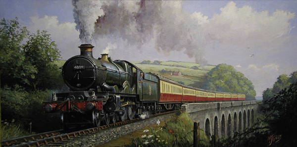 Vintage Train Painting - Castle On Broadsands Viaduct by Mike Jeffries