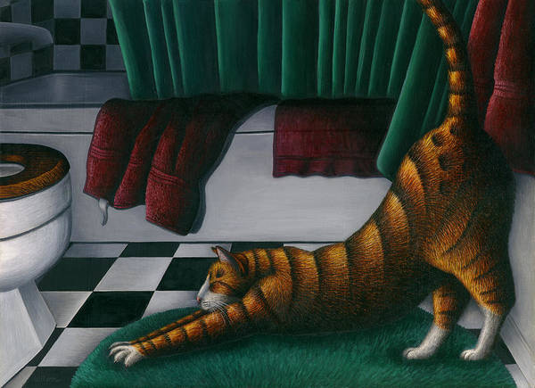 Wall Art - Painting - Cat Stretching In Bathroom by Carol Wilson