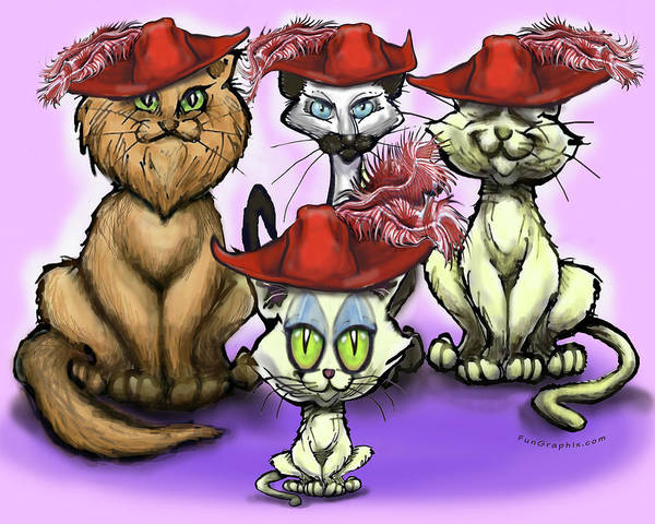 Digital Art - Cats In Red Hats by Kevin Middleton