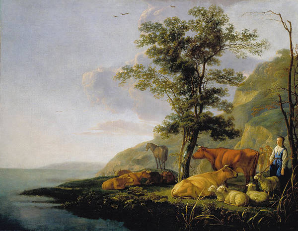 Cuyp Wall Art - Painting - Cattle Near A River by Aelbert Cuyp