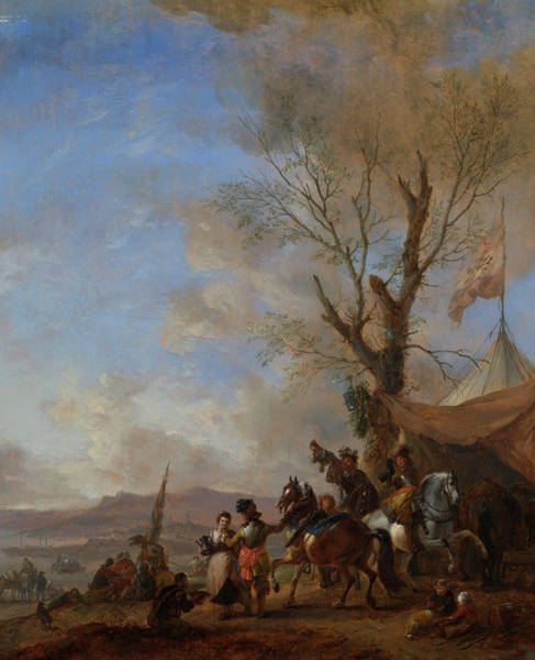 Burden Wall Art - Painting - Cavalrymen Halted At A Sutler's Booth by Philips Wouwerman