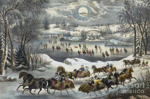 Skate Painting - Central Park In Winter by Currier and Ives