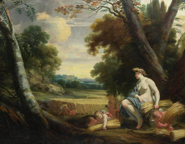 Fertility Painting - Ceres And Harvesting Cupids by Simon Vouet