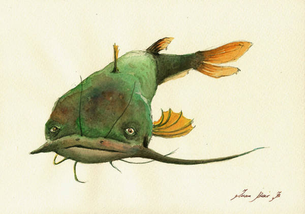 Fly Fishing Painting - Channel Catfish Fish Animal Watercolor Painting by Juan  Bosco