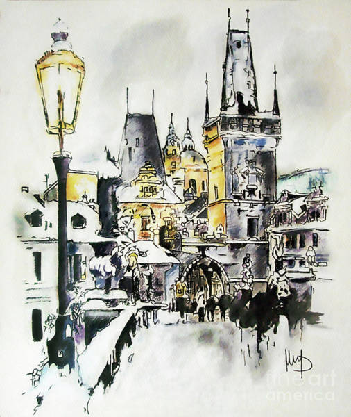 Praha Wall Art - Painting - Charles Bridge In Winter by Melanie D