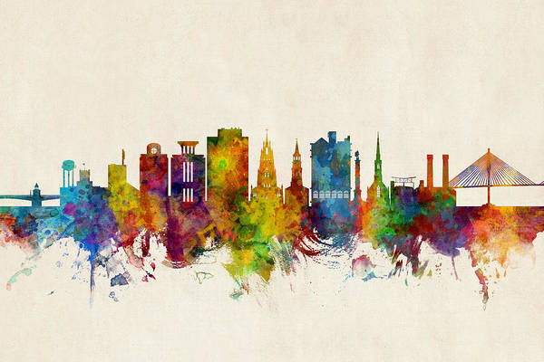 Wall Art - Digital Art - Charleston South Carolina Skyline by Michael Tompsett