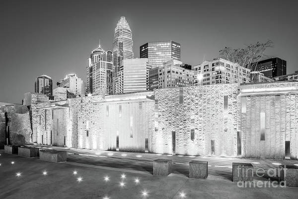 Charlotte Nc Wall Art - Photograph - Charlotte At Night Black And White Photo by Paul Velgos