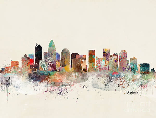 Charlotte Wall Art - Painting - Charlotte North Carolina Skyline by Bri Buckley