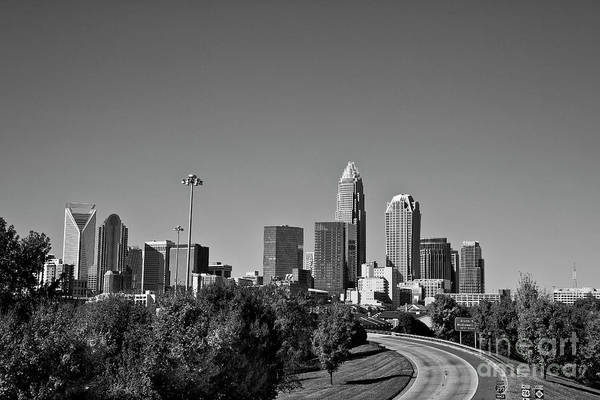Photograph - Charlotte Skyline In Black And White by Jill Lang
