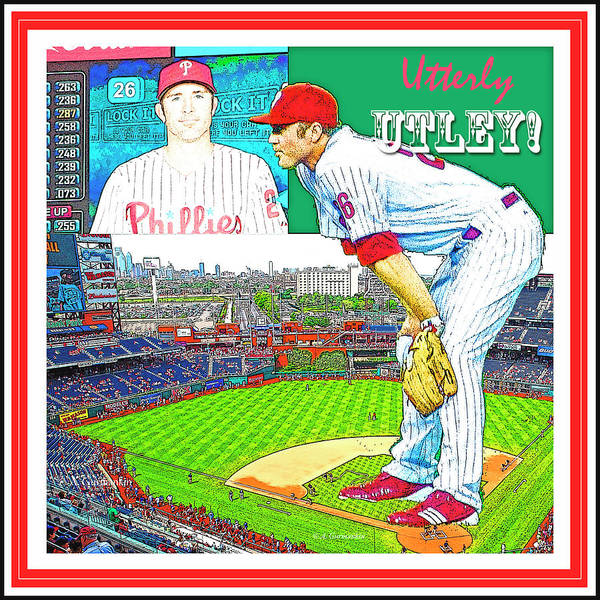 Citizens Bank Park Digital Art - Chase Utley Poster Utterly Utley by A Gurmankin